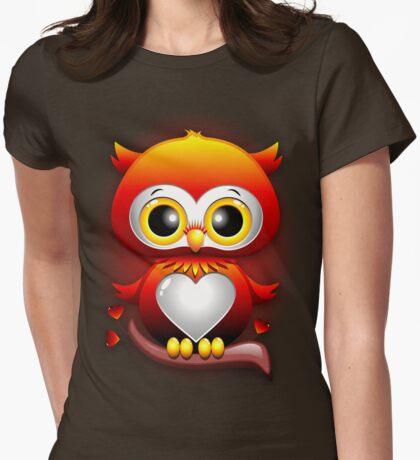 Baby Owl Love Heart Cartoon  Womens Fitted T-Shirt