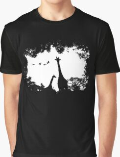 Giraffe Mother and Child Graphic T-Shirt