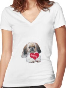 Shih Tzu Mom Women's Fitted V-Neck T-Shirt
