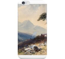 Thomas Charles Leeson Rowbotham (), Mountainous valley landscape with figures and cow beside a tree iPhone Case/Skin