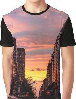 Golden New York Sunset Graphic T-Shirt