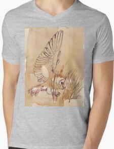 Barn Owl hunting 1 Mens V-Neck T-Shirt