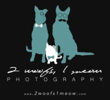 2 Woofs, 1 Meow - white font Kids Tee