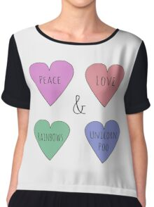 Peace Love Rainbows & Unicorn Poo Chiffon Top