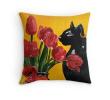 Still Life with Bastet Throw Pillow