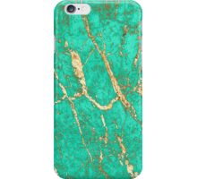 Chic Gold Turquoise Marble Pattern iPhone Case/Skin