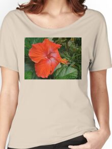 Red Hibiscus Flower Women's Relaxed Fit T-Shirt