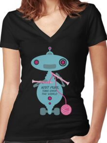 Knit Purl Take Over the World robot knitting needles Women's Fitted V-Neck T-Shirt