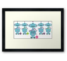 Knit Purl Take Over the World robot knitting needles Framed Print