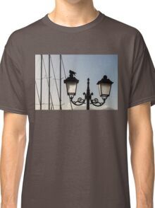 Dove Perch - Quaint Cast Iron Harbor Lights and Boat Masts - Left Classic T-Shirt