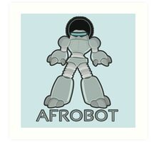Afrobot- robot with afro Art Print
