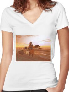 ARES CYBORG IN THE DESERT OF HYPERION,Sci Fi Movie Women's Fitted V-Neck T-Shirt