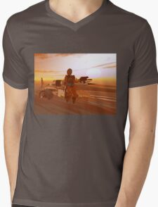 ARES CYBORG IN THE DESERT OF HYPERION,Sci Fi Movie Mens V-Neck T-Shirt