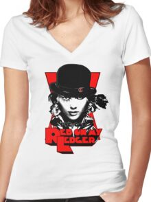 Red on my Ledger Women's Fitted V-Neck T-Shirt