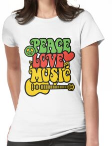 Reggae Peace-Love-Music Womens Fitted T-Shirt