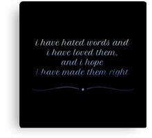 Right Words Canvas Print