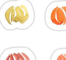 Pumpkins with leaves in watercolors Sticker