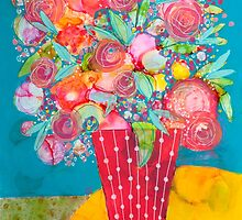 Teal and Pink Bouquet by Anna Davies