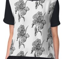 Single flower of Iris graphic illustartion Chiffon Top