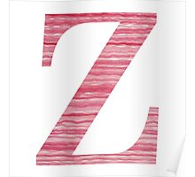 Letter Z Red Watercolor Stripes Initial Monogram Poster