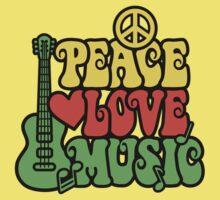 Reggae Peace Love Music One Piece - Short Sleeve