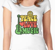 Reggae Peace Love Music Women's Fitted Scoop T-Shirt