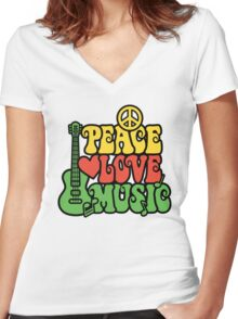 Reggae Peace Love Music Women's Fitted V-Neck T-Shirt