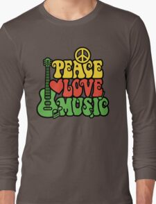Reggae Peace Love Music Long Sleeve T-Shirt