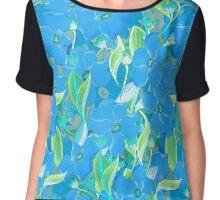 Blue flowers bouquet pattern Chiffon Top