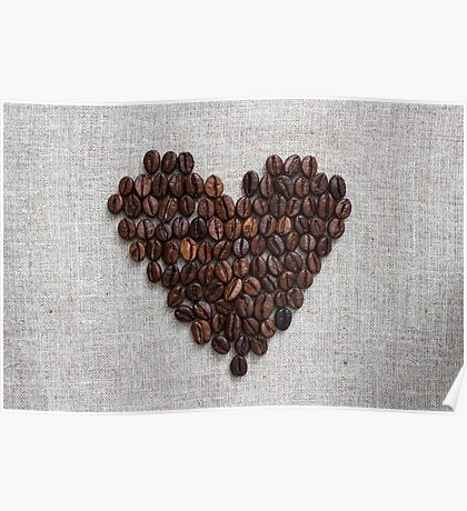 Heart from coffee beans Poster