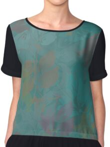 Seamless Flower  Tulip  Pattern. Monochrome background garden Chiffon Top