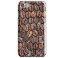 Coffee beans on a linen tablecloth. iPhone Case/Skin