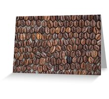 Coffee beans on a linen tablecloth. Greeting Card