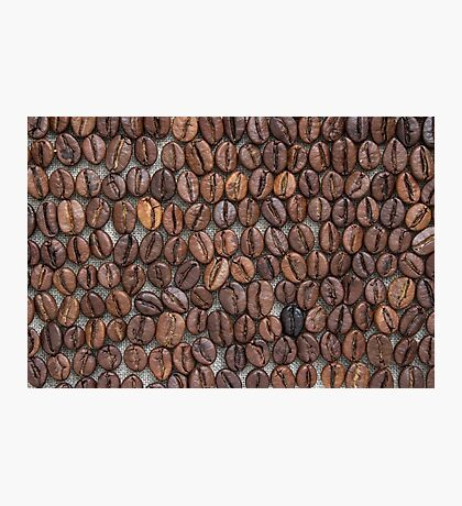 Coffee beans on a linen tablecloth. Photographic Print