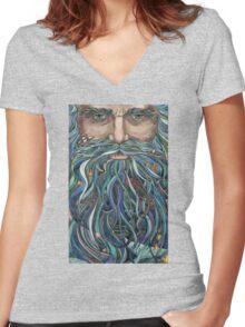 Old man Ocean Women's Fitted V-Neck T-Shirt