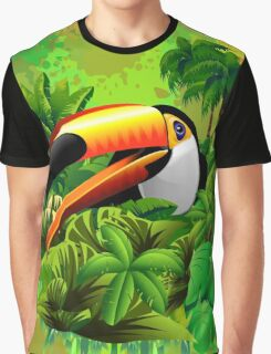 Toucan on Wild Green Jungle  Graphic T-Shirt