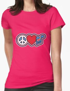 PEACE LOVE MUSIC Symbols Womens Fitted T-Shirt