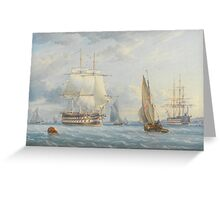 William Joy  MAN-O-WAR COMING INTO ANCHOR WITH SHIPPING AT SPITHEAD; SHIPPING IN A STORM, Greeting Card