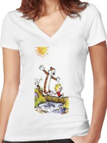 Calvin and Hobbes River Women's Fitted V-Neck T-Shirt