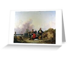 William Shayer Senior - Fisherfolk on the Hampshire Coast Greeting Card
