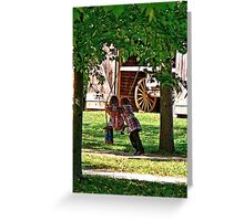 Two Sisters Playing on Swing Greeting Card