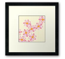 Girly Pink Watercolor Flowers Yellow White Stripes Framed Print