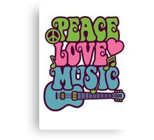 Peace Love Music Canvas Print