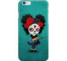 Sugar Skull Girl Playing Rainbow American Flag Guitar iPhone Case/Skin