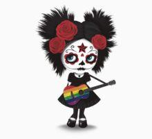 Sugar Skull Girl Playing Gay Pride Rainbow Flag Guitar Kids Tee