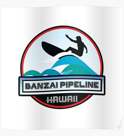 Surfing BANZAI PIPELINE OAHU HAWAII Surf Surfer Surfboard Waves Ocean Beach Vacation Stickers Poster