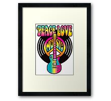 Vinyl Peace-Love-Music Framed Print