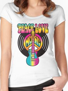 Vinyl Peace-Love-Music Women's Fitted Scoop T-Shirt