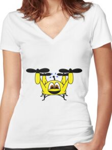 Happy Drone Women's Fitted V-Neck T-Shirt