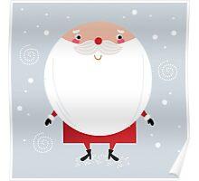 Santa with beard, cute greeting for Xmas holiday Poster